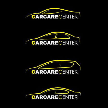 Yellow car wash center line logo 4 style on black background Иллюстрация