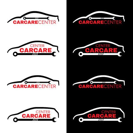 silhouette voiture: Lavage de voiture logo rouge de la ligne de centre 4 de style sur fond blanc et noir Illustration