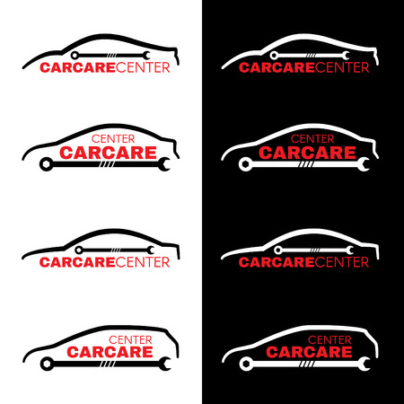 red sports car: Red car wash center line logo 4 style on white and black background