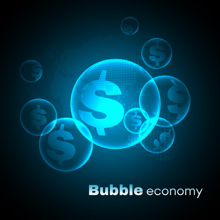 transfer: Dollar sign in Blue sky bubble economic vector background