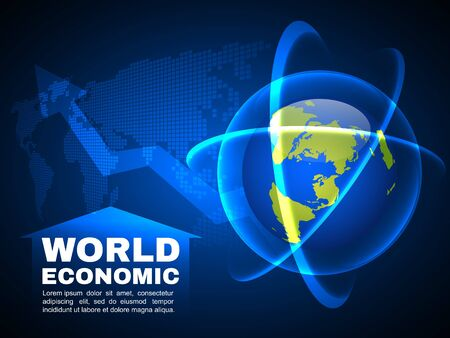 global finance: World economic and global map line bubble light  vector background