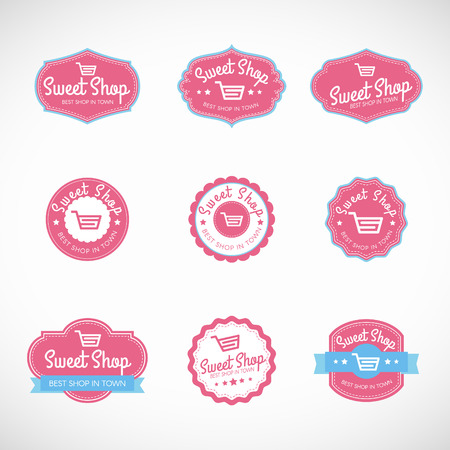 vintage badge: Pink Sweet shop and shopping cart banner vector vintage logo Illustration