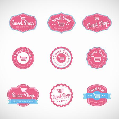 Roze Zoete winkel en winkelwagen banner vector vintage logo