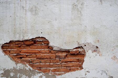 Old wall brick cracks art retro background Stock Photo