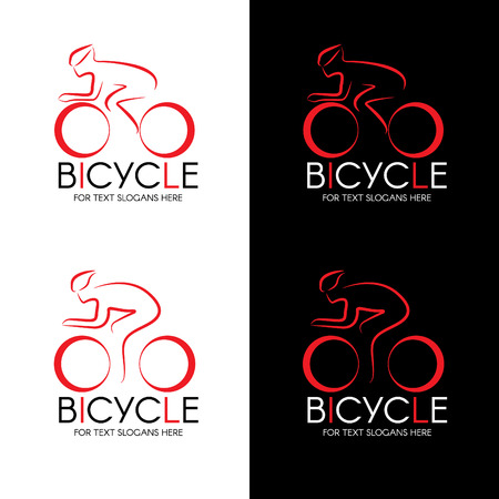 Bicycle and man line logo vector design Illustration