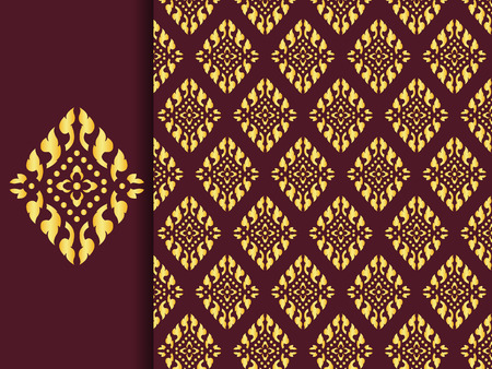 buddhist: Asian traditional art Design Vector, Thai traditional design  Lai Thai pattern