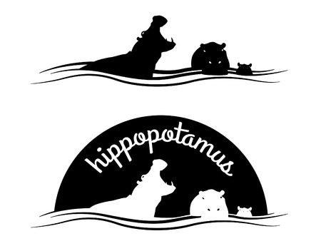 wildlife: Animal of wildlife  Hippo  Vector black white design Illustration