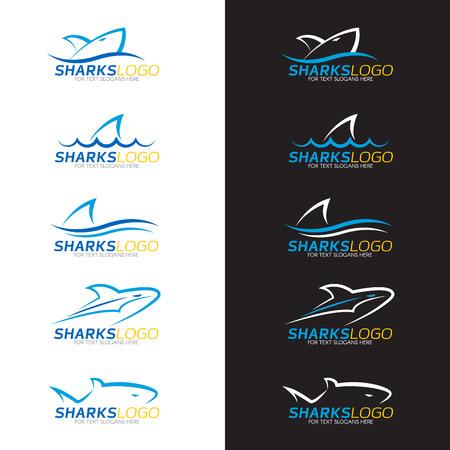 logos restaurantes: Azul tiburón logo 5 estilo sobre fondo blanco y negro