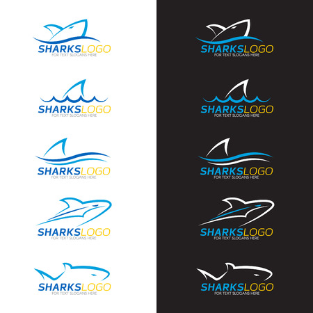 Blue shark logo 5 style on white and black background