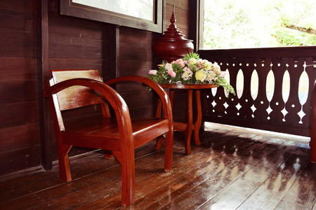 path cottage garden: wooden chairs on wood house thai retro style