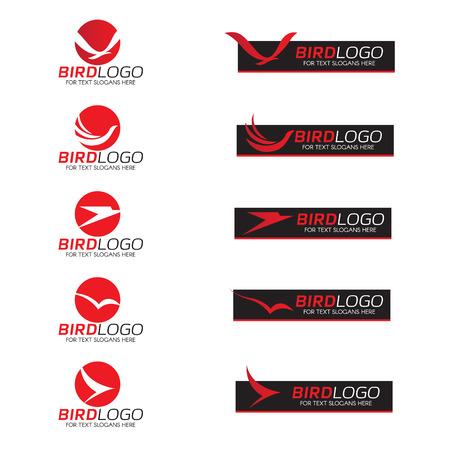 ave fenix: Pájaro rojo en el círculo y la bandera negro de diseño de logotipo vectorial