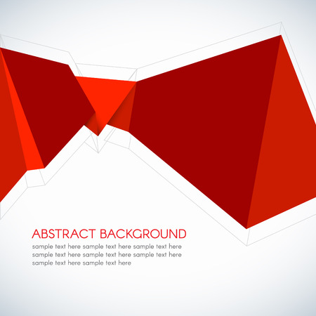 origami paper: Red Paper Origami Polygonal Shape vector background