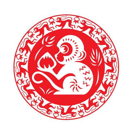 astrologie: Red Monkey Sternzeichen auf Kreissymbol Affe hält Pfirsich Illustration