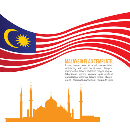 flag vector: Malaysia flag wave and Crystal Masjid symbols