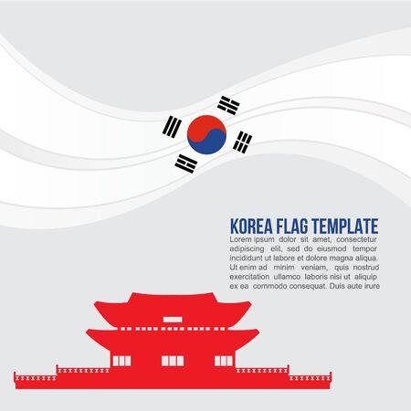seoul: Korea flag wave and Gyeongbokgung Palace symbols