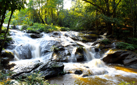 gully: Beautiful Nature Waterfall in gully Chiangmai , thailand Stock Photo