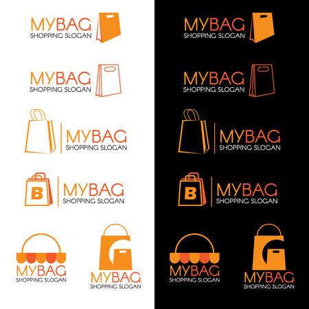vector set: Orange Shopping bag  set vector design