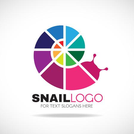 caracol: Circlie arco iris de colores caracol diseño del logotipo del vector Vectores
