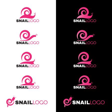 rosa negra: Pink Snail insignia línea vectorial sobre fondo blanco y negro