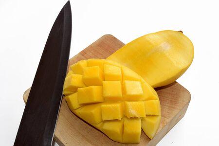 mango slice: Yellow Mango slice fruit isolate on white background Stock Photo