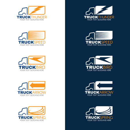 Blue and Orange Truck shipping vector