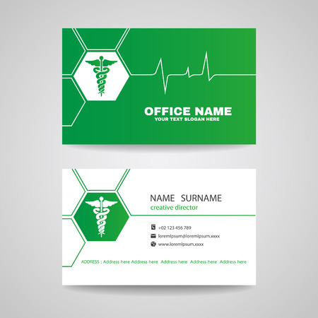 business card design: Business card for Medical healthcare - green Caduceus and Waves of the Heart vector design