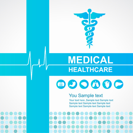 vector medical: Medical healthcare - Blue cross and Caduceus and Waves of the Heart  and body organs icon vector design