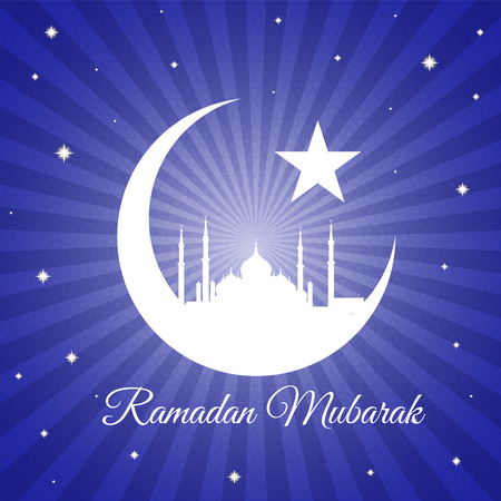 masjid: Ramadan mubarak - moon star and masjid on violet blue light vector background