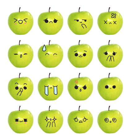 green face: emoticon cute face - The green apple isolate on white background Stock Photo