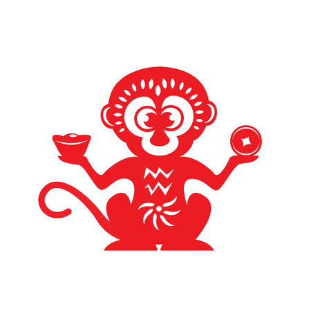 happy new year cartoon: Red paper cut monkey zodiac symbol monkey holding money Illustration