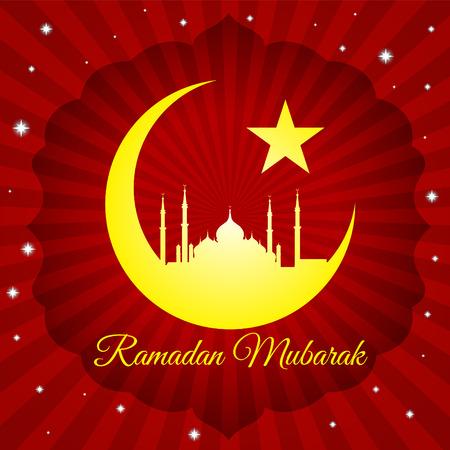 masjid: Ramadan mubarak - moon star and masjid on red light vector background