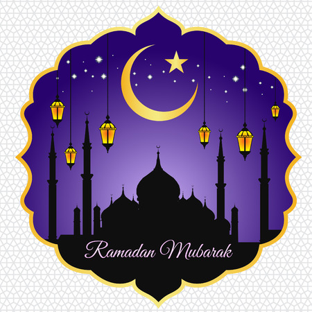 eid mubarak: Ramadan mubarak - moon star lantern and masjid on violet vector background