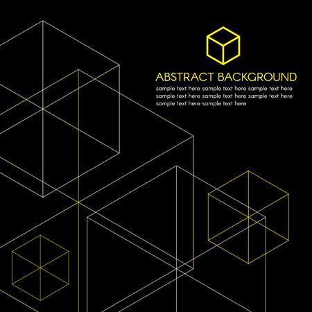 黒の背景に黄色の等尺性ボックスのロゴとライン ベクトル