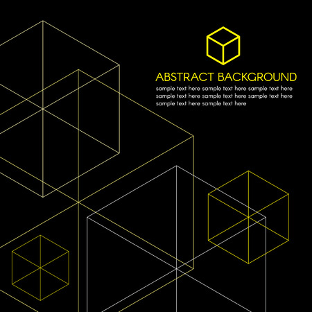 Isometrische gelbe Box-Logo und Linienvektors auf schwarzem Hintergrund Standard-Bild - 44295126