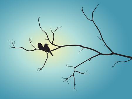 silhouette fleur: Oiseau ombre noire et une branche d'arbre sur la conception de vecteur de la lumière bleue du soleil