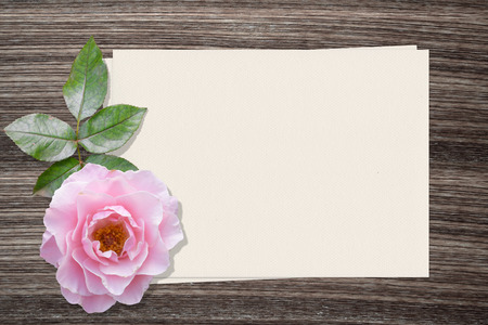 pencil and paper: Pink rose and and paper on wood background