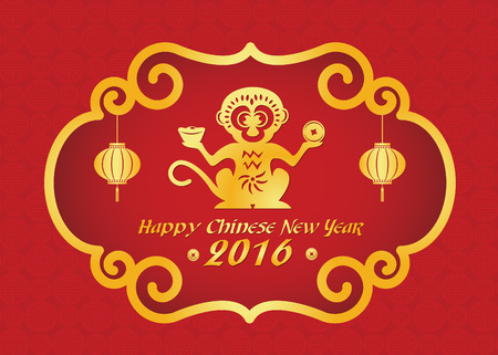 chinese new year card: Happy Chinese new year 2016 card is  lanterns ,Gold monkey holding money Illustration