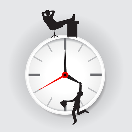 Office Clock and employees Man and boss