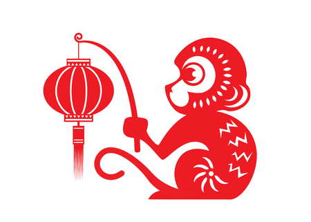 chinese festival: Red paper cut monkey zodiac symbol monkey holding lantern Illustration