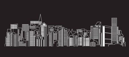 Cityscape Building Line art Vector Illustration design