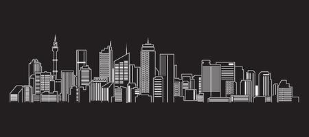 都市の景観建物ライン アート ベクトル イラスト デザイン シドニー