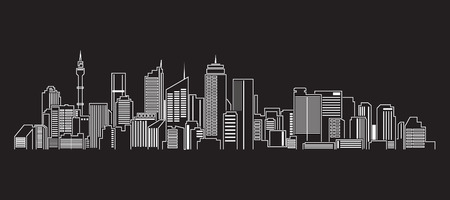 new york skyline: Cityscape Building Line art Vector Illustration design Sydney