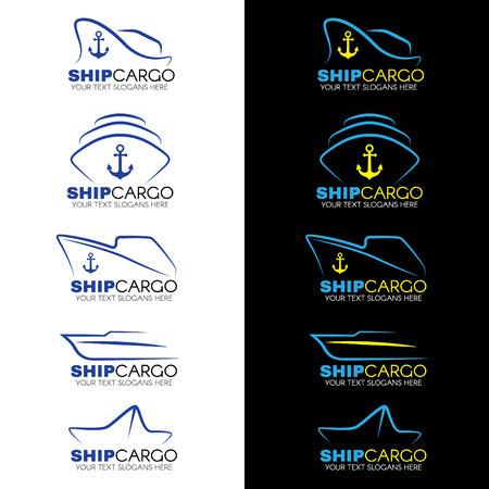 Blauw en geel Vrachtschip logo vector design