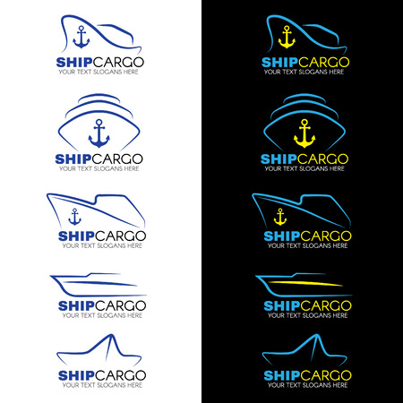 Blue and yellow Ship cargo logo vector design