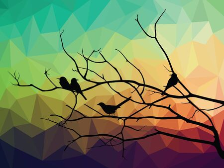 wall decal: animal of wildlife  bird on tree branch and low poly vector background Illustration