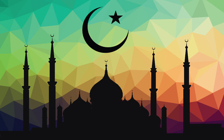 masjid: moon star and masjid on low poly vector background Illustration