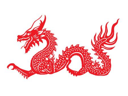 flores chinas: Papel rojo cortado a s�mbolos del drag�n de China