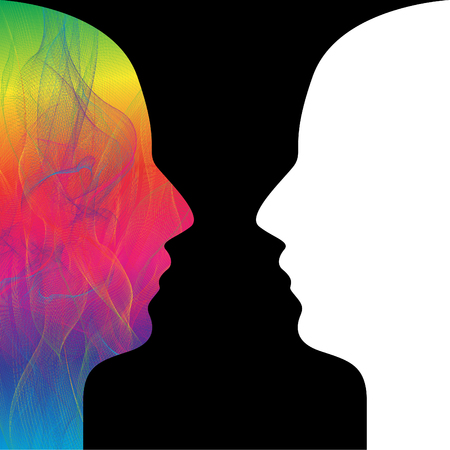 Head Human Blend wave colorful and white Vector design
