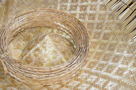 a straw: Close up hat Bamboo weave sheets for weaving