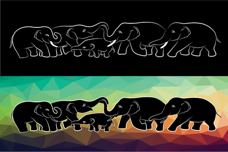 vector art: Family elephant of wildlife line and low poly vector design